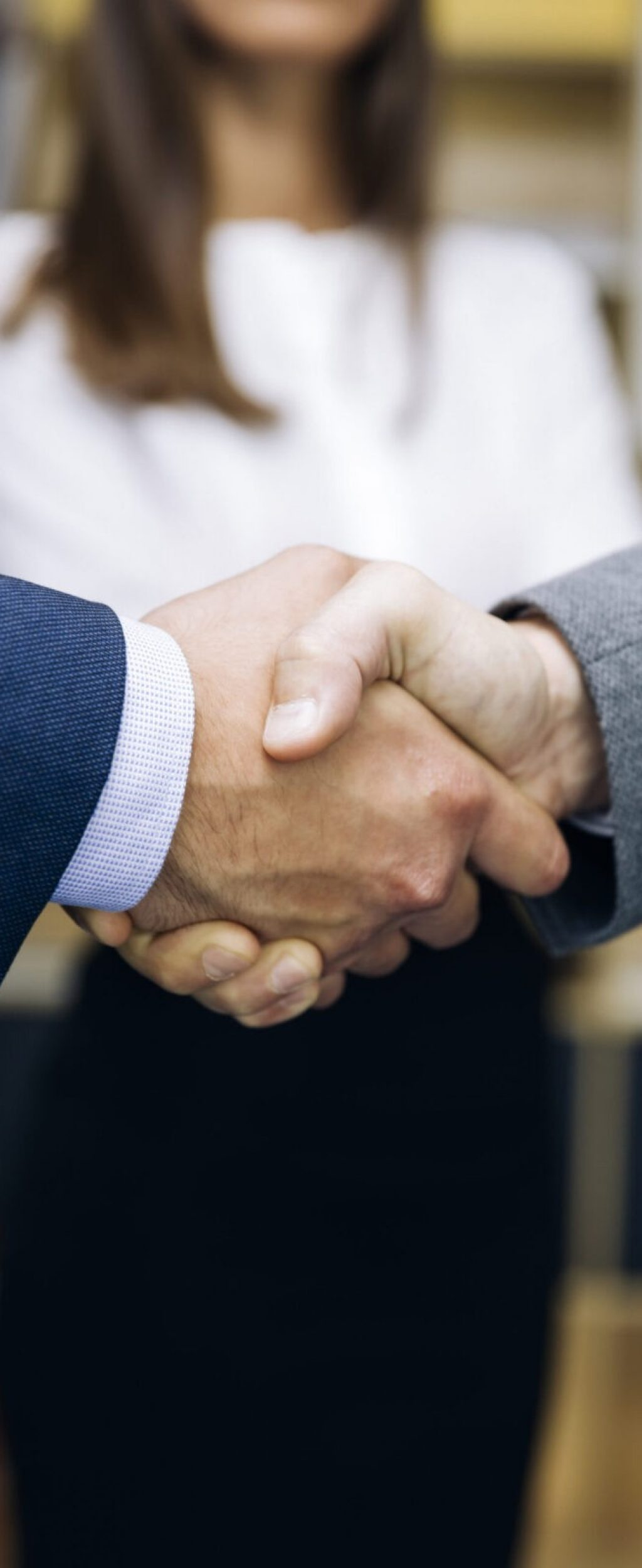 Businessmen handshaking after deal agreement in the office